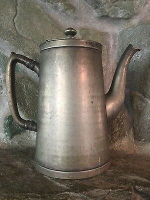 "Large Antique Vintage Grand Silver Co Wear Brite Nickel Silver 8"" Coffee Tea Pot"