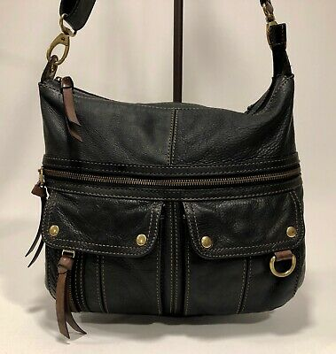 b9c8b44cfc FOSSIL Morgan Large BLACK Pebbled Leather Traveler Crossbody Messenger Purse