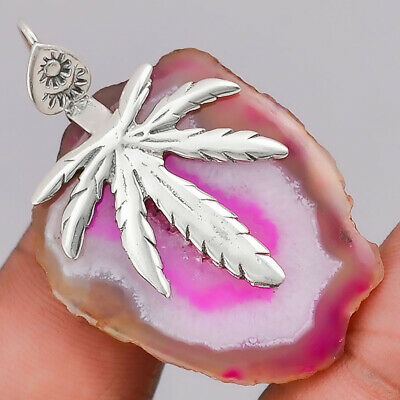 12g Natural Botswana Agate Slice 925 Sterling Silver Pendant Jewelry SDP23283