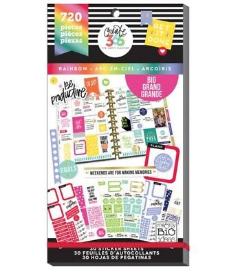 Happy Planner Rainbow Big Stickers Value Pack Red Orange Yellow Green Blue Purpl
