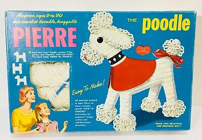 Vtg 1961 Pierre the Poodle Crochet Toy Dog Kit Excellent Complete Lisbet Whiting