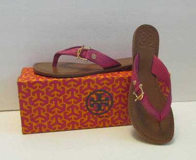 abb7571f07ad Tory Burch Nora Fuschia pink logo leather thong 8.5 New sandal flat shoe  gold