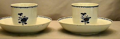 Pair Early Chinese Export Mazarin Blue & Gilt Tea Cups & Saucers 18th  c