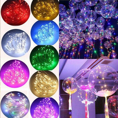 "20"" LED Light Up Bobo Balloon Transparent Wedding Birthday Xmas Party Decor Lamp"