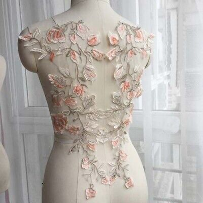 1 Pair Flower Embroidery Lace Applique Bridal Dress Sewing Patch DIY