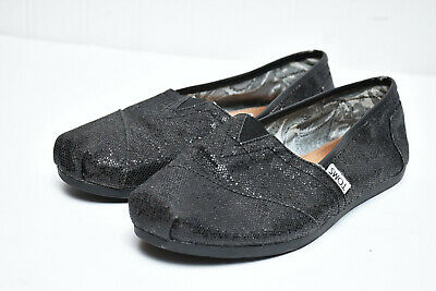 5e8952d747e Toms Classic Black Glitter Canvas Slip on Comfort Womens Flats Shoes Sz 8