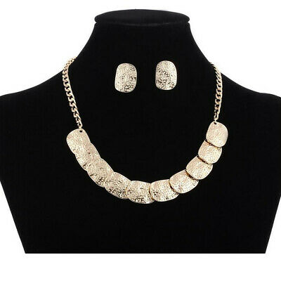 Fashion Women Boho Statement Alloy Chain Collar Choker Bib Necklace Earrings Set