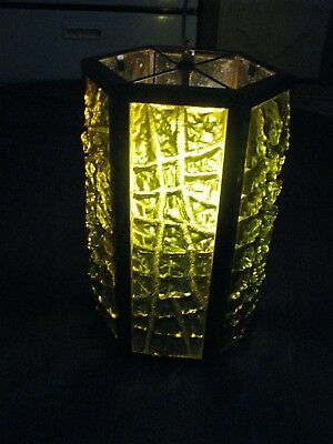 Vintage CHUNKY GREEN Lucite Resin Mid Century MCM Indoor Outdoor Swag Lamp Light