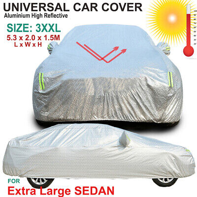 Universal Aluminium Car Cover Rain/UV/Dust Resistant 3XXL for Extra Large Sedan