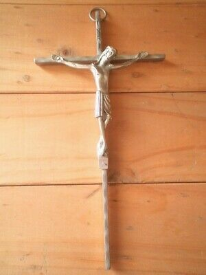 Vintage Crucifix Inri Wall Hanging Stainless Steel 24.5Cm Italy Jesus On Cross
