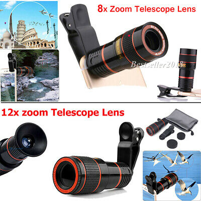 US HD 8/12X Optical Zoom Camera Telescope Lens + Clip For Universal Mobile Phone