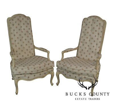 French Louis XV Style Vintage Pair High Back Fauteuils Armchairs