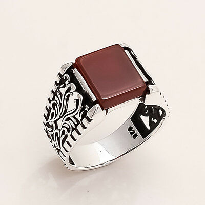 Turkish Ottoman Men's Red Onyx Ring 925 Sterling Silver Istanbul Antique Jewelry