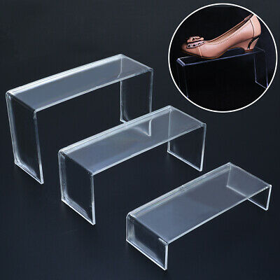 3Pcs Clear Acrylic Shoes Display Stand Jewellery Cosmetics Organiser Rack Holder