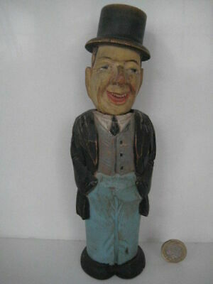Rare Antique Vintage Anri Carved Treen Black Forest Old Man Clothes Brush Figure