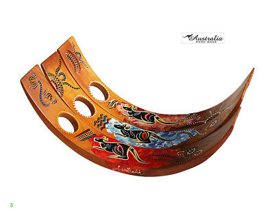 3 x Semi Circle Wine holder - Hand Painted - Aboriginal Designs 3