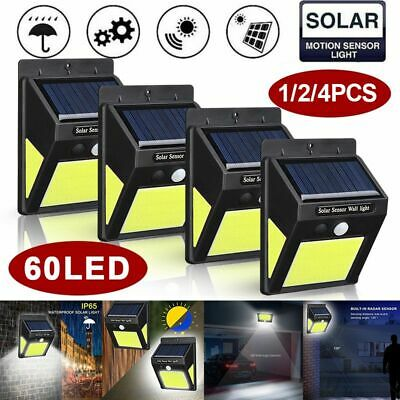 60 LED Solar Powered PIR Motion Sensor Wall Security Light Lamp Garden Lighting