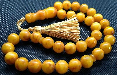 ANTIQUE 12mm - 37 gr. GENUINE BALTIC AMBER ISLAMIC 33 BALLS PRAYER BEADS ROSARY
