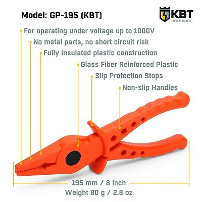 Dielectric Plastic Pliers 1000V Fully Insulated Model KBT GP-195