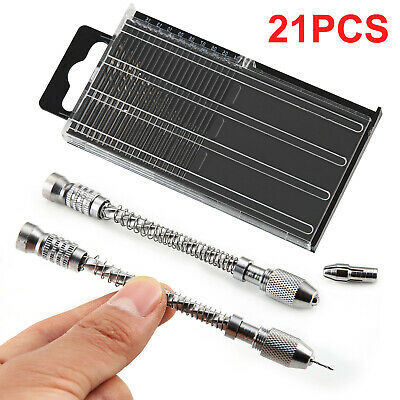 21X Pin Vise Hand Spiral Drill Mini Micro Drill Bits Set Index Semi-automatic