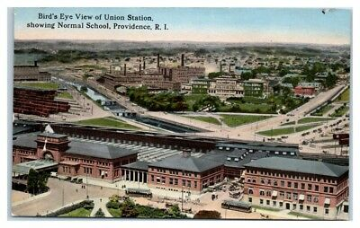Bird's-Eye View of Union Station showing Normal School, Providence, RI Postcard