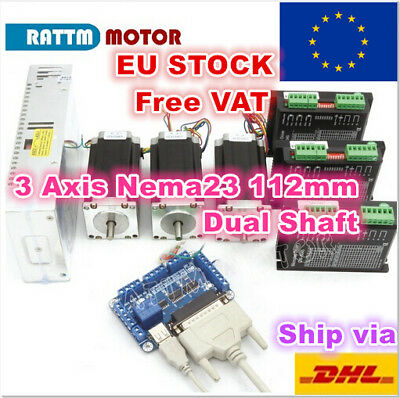 【EU】3 Axis Nema23 112mm Stepper Motor Dual Shaft 425oz CNC Kit 3A+CW5045 Driver