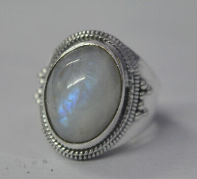 Natural Rainbow Moonstone Gemstone Solid 925 Sterling Silver Mans Ring Jewelry