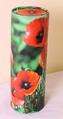 Large Scatter Ashes Urn,  Biodegradable Cremation Funeral Scattering Tube Poppy