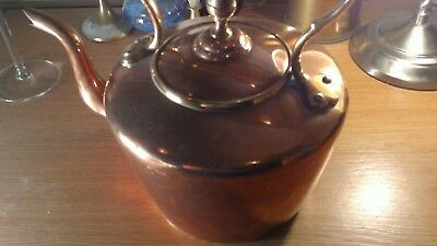 """Rare Antique Copper Brass Kettle Weighing A Whopping 1.372 Kilos Base Stamp """"Jj"""
