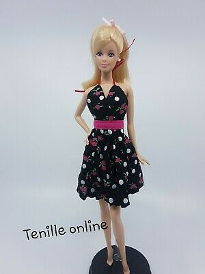 New Barbie doll clothes outfit summer party red pretty dress cocktail short