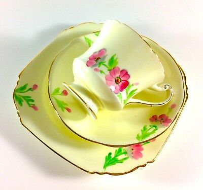 Vintage China Paragon Pink Floral Hand painted Art Deco tea cup saucer set trio