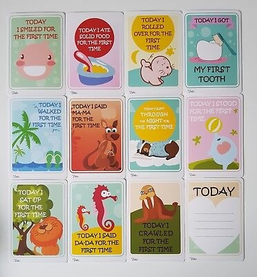 Pack Of 40 Babies 1st Year Memorable Moments Milestone Cards Baby Shower B/&W I