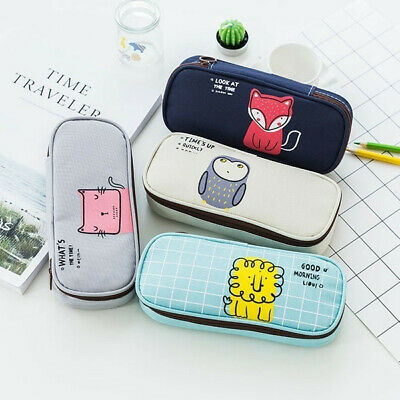 Cute Animal Pencil Case Pen Bag Stationery Supplies Storage Cosmetic Makeup Box