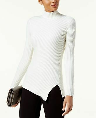da2592db0dc23 INC  70 Womens New 1171 White Slitted Ribbed Long Sleeve Turtle Neck Top L  B+