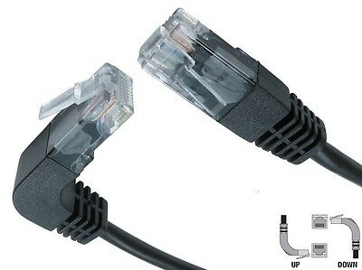 Cat5e RJ45 Network Cable Straight to Right Angle Up Black Ethernet lead UK