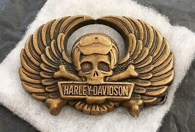 VTG Rare 1990 WINGED SKULL & CROSS BONES Solid Brass HARLEY DAVIDSON Belt Buckle