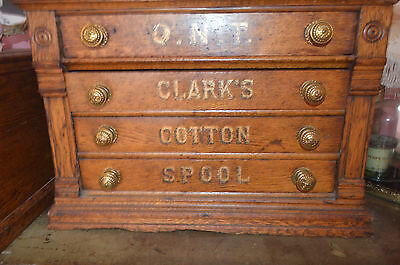 Antique Clark's Oak Wood 4 Drawer Sewing Spool Box Chest