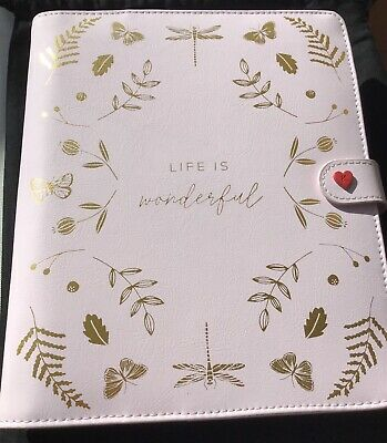 Kikki K Life Is Wonderful Leather Medium Planner Pale Pink New Authentic RARE