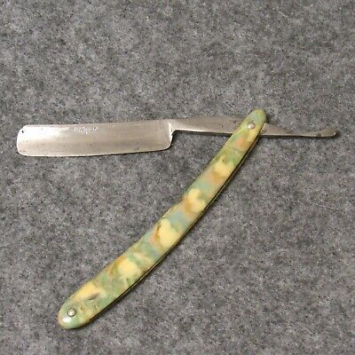 "Cattaraugus Cutlery Co Little Valley NY 6-3/4"" Straight Razor Mottled Handles"
