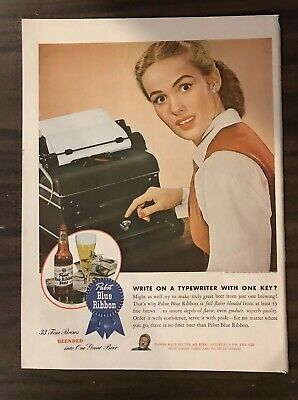 1945 PABST'S BLUE RIBBON Print Ad Excellent Color (PH1)