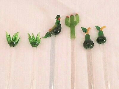 6 GLASS Cocktail SWIZZLE Stick Drink Stirrer Bird Cactus Pears Green Tropical