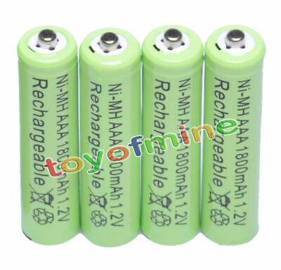 4x AAA 1800mAh 1.2 V Ni-MH 3A Green Color Rechargeable Battery Cell