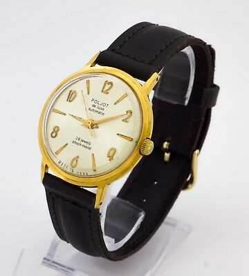 Poljot De Luxe automatic USSR gold plated AU20 watch, 29 jewels. Export version!
