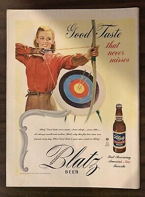 1945 BLATZ BEER Print Ad Excellent Color (PH1)