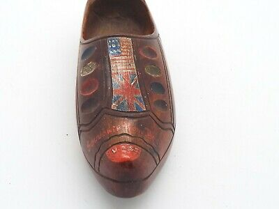 Antique Carved Wooden Clog WW1? Souvenir of Belgium British & American Flags