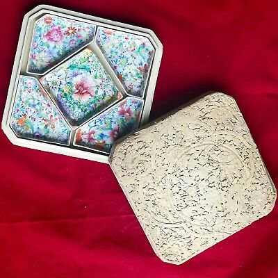 Chinese Famille Rose Porcelain Set of 5 dishes w/ White Carved Cinnabar Box