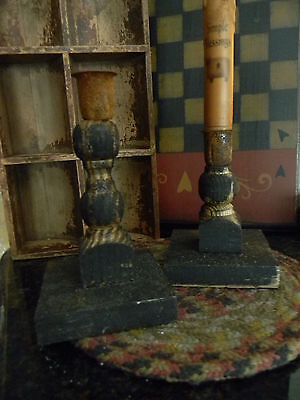 Primitive Vintage Look Tapered Candleholders Rustic Wooden Shelf Sitter Country