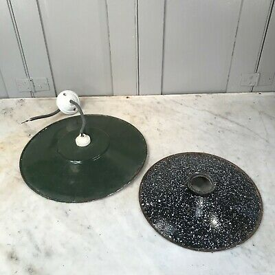 Couple of vintage French enamel coolie light shades