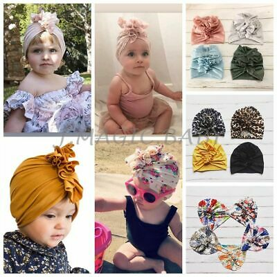 Baby Girl Messy Ruffle Turban Bow Soft Stretchy Hat Beanie Infant Cotton Lace