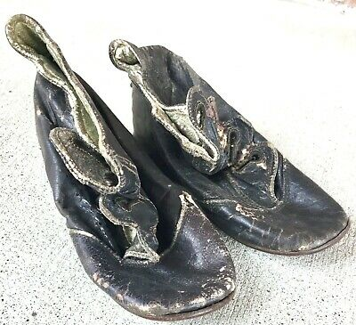 """Antique French Fashion Doll 4 1/2"""" Shoes Black Victorian Button Shabby Chic"""